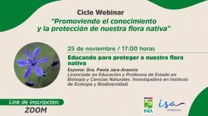 Webinar : Educando para proteger a nuestra flora nativa @ ZOOM