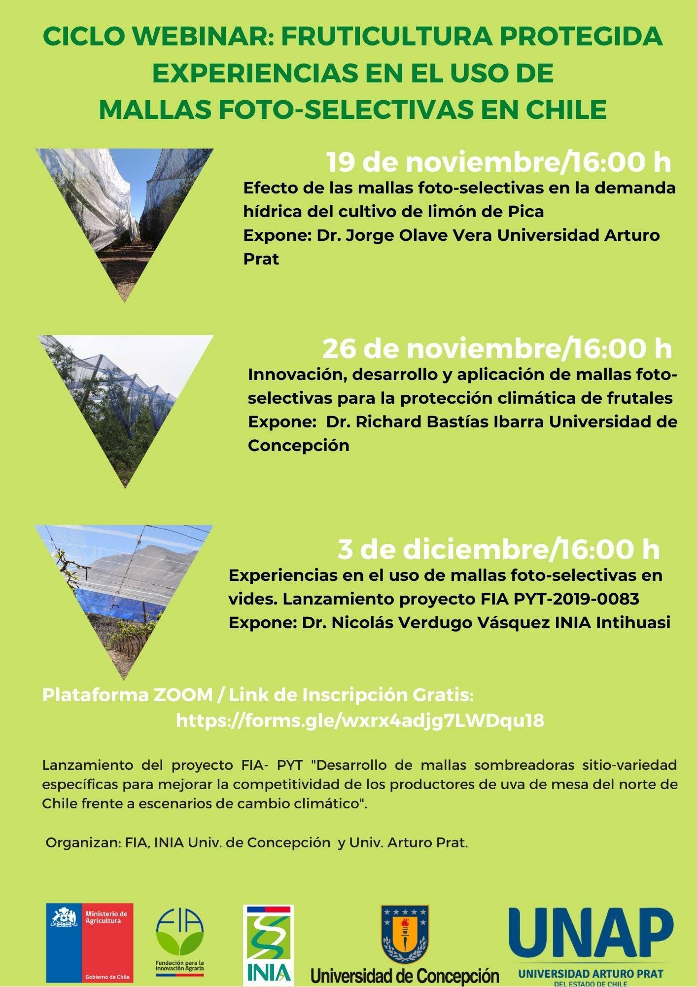 Nuevo ciclo webinar: Fruticultura protegida experiencias en el uso de mallas foto-selectivas en Chile