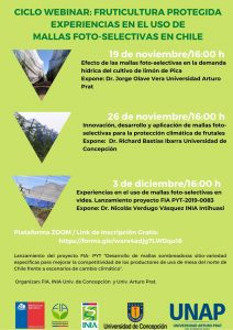 Webinar: Innovación, desarrollo y aplicación de mallas foto-selectivas para la producción climática de frutales @ ZOOM